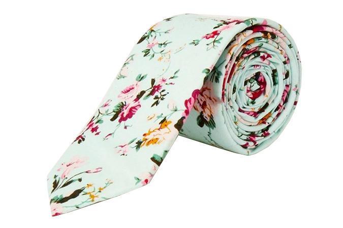 Бирюзовый Цветочный галстук