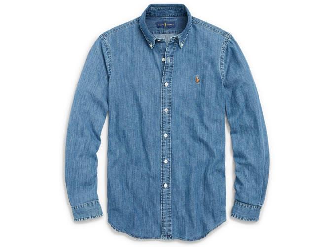 POLO RALPH LAUREN Классическая спортивная джинсовая рубашка